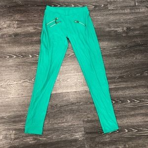 Pants - Jade Green Leggings with gold zipper details